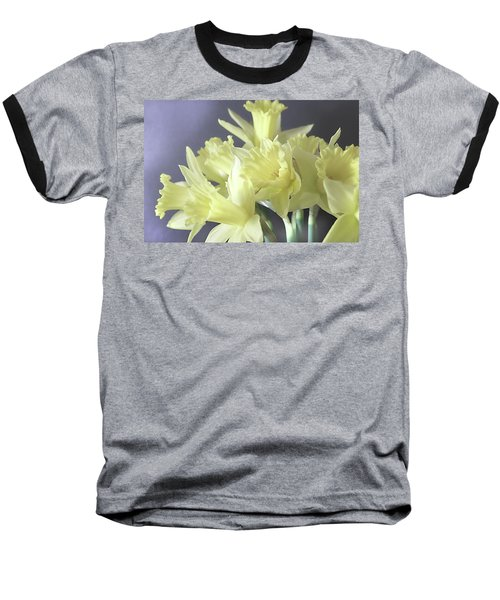 Fragile Daffodils Baseball T-Shirt by Jacqi Elmslie