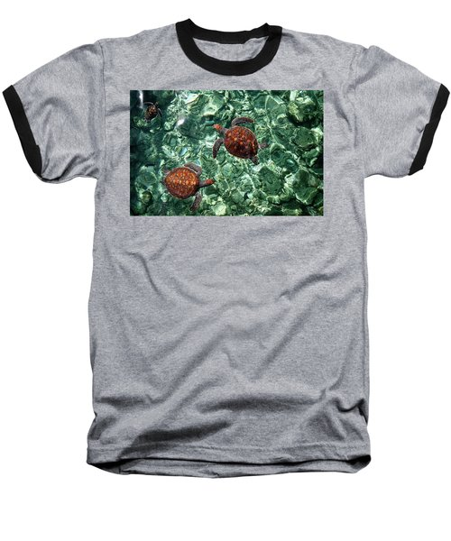 Fragile Underwater World. Sea Turtles In A Crystal Water. Maldives Baseball T-Shirt