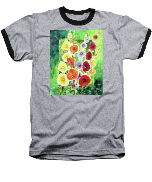 Baseball T-Shirt featuring the painting Framed In Hollyhocks by Kathy Braud