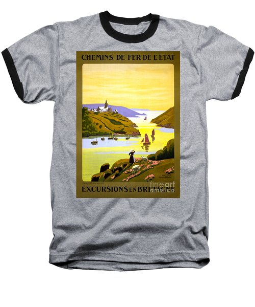 France Bretagne Vintage Travel Poster Restored Baseball T-Shirt by Carsten Reisinger
