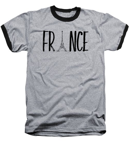 France Typography Panoramic Baseball T-Shirt
