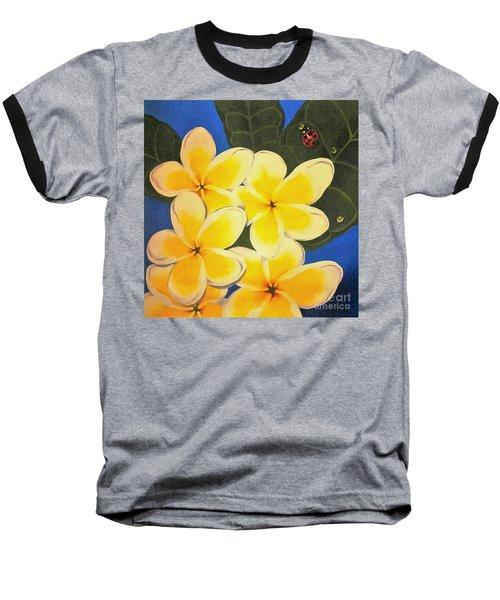 Frangipani With Lady Bug Baseball T-Shirt