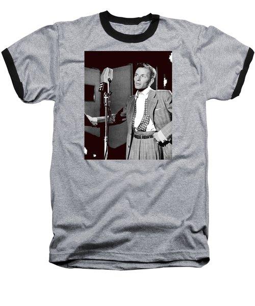 Frank Sinatra William Gottlieb Photo Liederkranz Hall New York City 1947-2015 Baseball T-Shirt by David Lee Guss