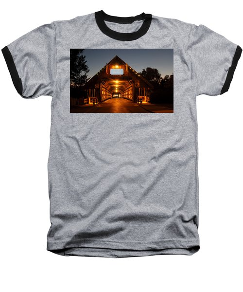 Frankenmuth Covered Bridge Baseball T-Shirt by Pat Cook