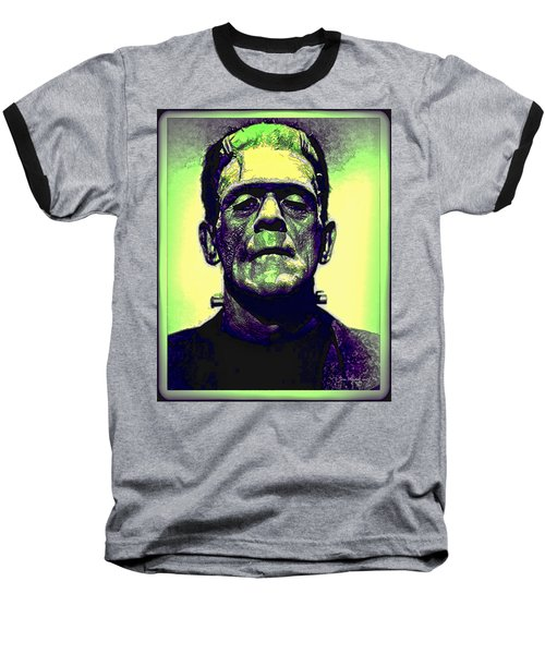 Frankenstein In Color Baseball T-Shirt by Joan  Minchak