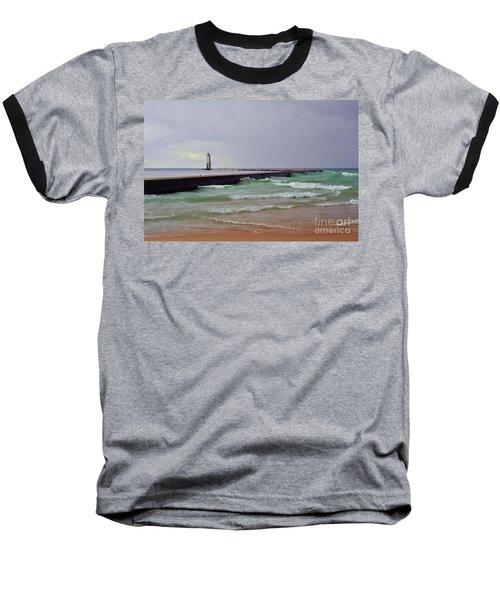 Frankfurt Lighthouse Breakwater Baseball T-Shirt