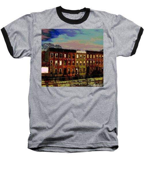 Franklin Ave. Bk Baseball T-Shirt by Iowan Stone-Flowers
