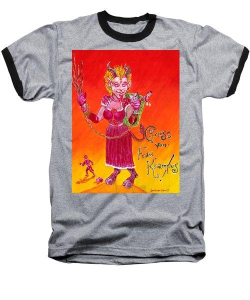 Frau Krampus Baseball T-Shirt