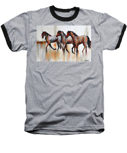 Baseball T-Shirt featuring the painting Free Spirits by Cher Devereaux