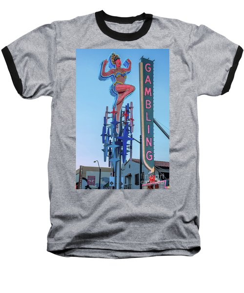 Fremont Street Lucky Lady And Gambling Neon Signs Baseball T-Shirt by Aloha Art