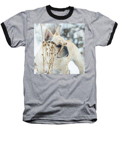 French Bulldog In The Snow Baseball T-Shirt