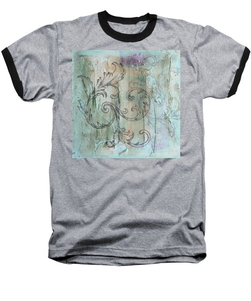 French Country Scroll In Muted Blue Baseball T-Shirt