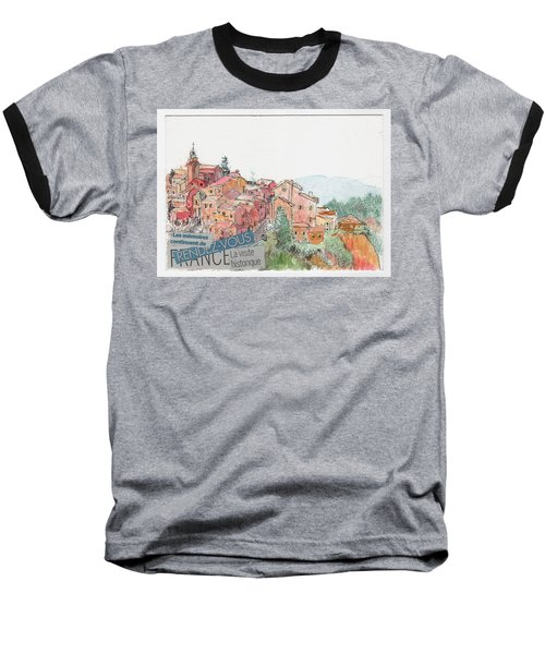 Baseball T-Shirt featuring the painting French Hill Top Village by Tilly Strauss