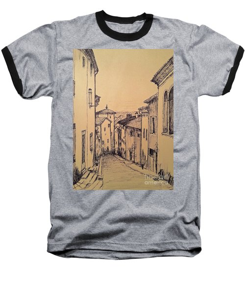French Little Town Drawing Baseball T-Shirt by Maja Sokolowska