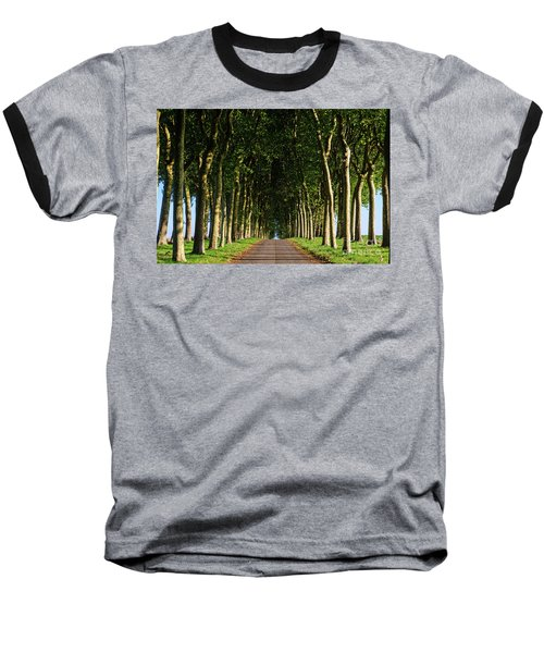 French Tree Lined Country Lane Baseball T-Shirt