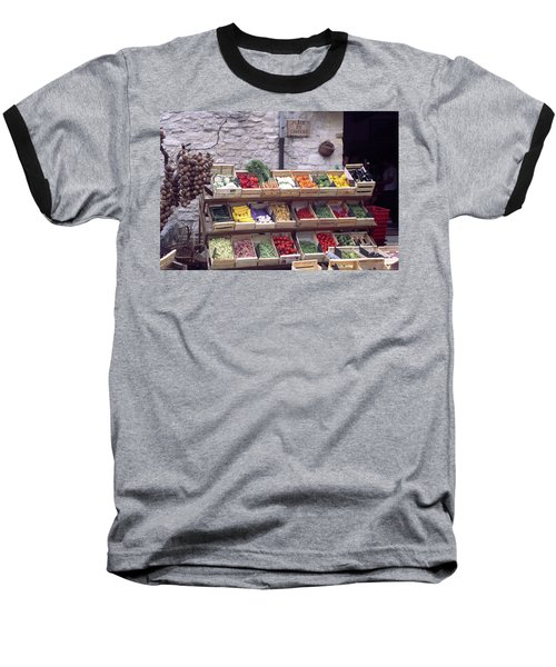 Baseball T-Shirt featuring the photograph French Vegetable Stand by Frank DiMarco