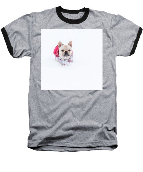 Frenchie In The Snow Baseball T-Shirt