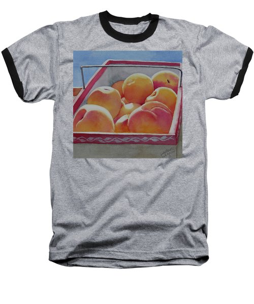 Fresh Peaches Baseball T-Shirt by Judy Mercer