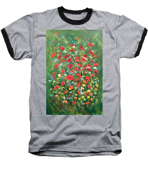 Baseball T-Shirt featuring the painting Fresh Poppies From The Garden by Dorothy Maier