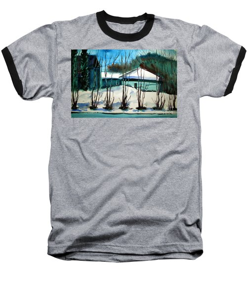 Baseball T-Shirt featuring the painting Fresh Snow Double Matted by Charlie Spear