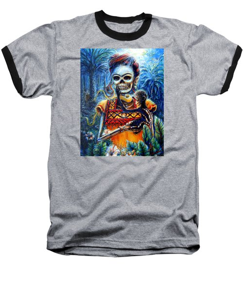 Frida In The Moonlight Garden Baseball T-Shirt by Heather Calderon