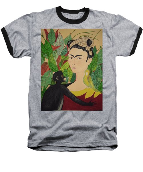 Frida With Monkey And Bird Baseball T-Shirt