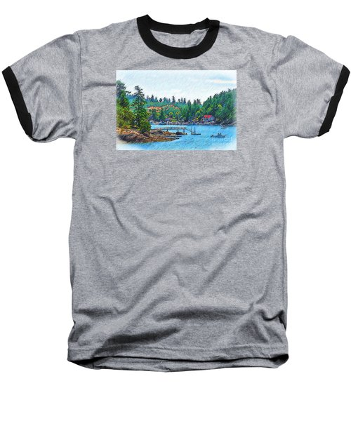 Baseball T-Shirt featuring the digital art Friday Harbor Sketched by Kirt Tisdale