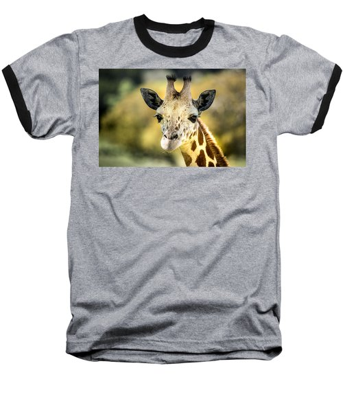 Friendly Giraffe Portrait Baseball T-Shirt