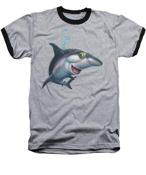 friendly Shark Cartoony cartoon under sea ocean underwater scene art print blue grey  Baseball T-Shirt