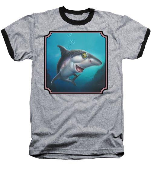Friendly Shark Cartoony Cartoon - Under Sea - Square Format Baseball T-Shirt