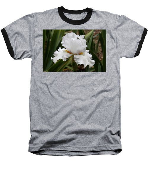 Frilly White Iris Flower Baseball T-Shirt