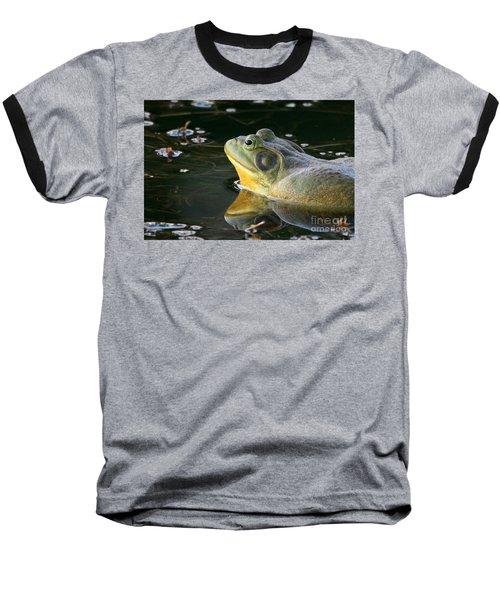 Baseball T-Shirt featuring the photograph Frog At Sunset by Paula Guttilla