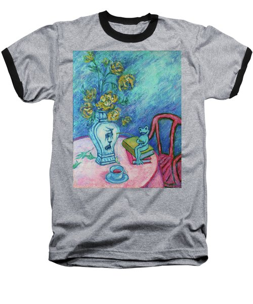 Baseball T-Shirt featuring the painting Frog Fishing Under Chrysanthemums by Xueling Zou