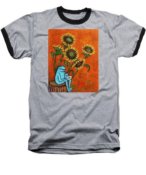 Frog I Padding Amongst Sunflowers Baseball T-Shirt by Xueling Zou