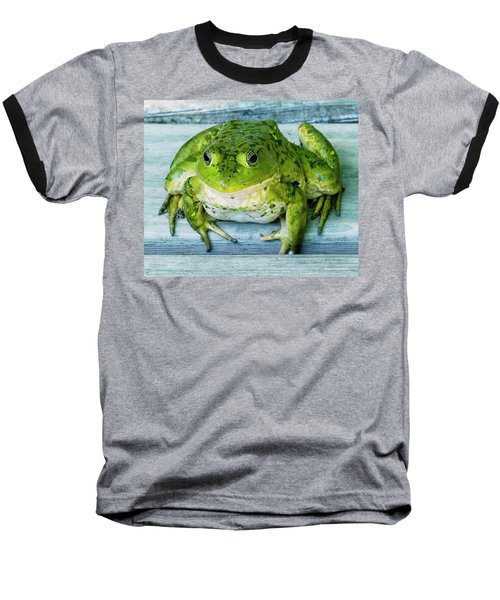 Frog Portrait Baseball T-Shirt by Edward Peterson