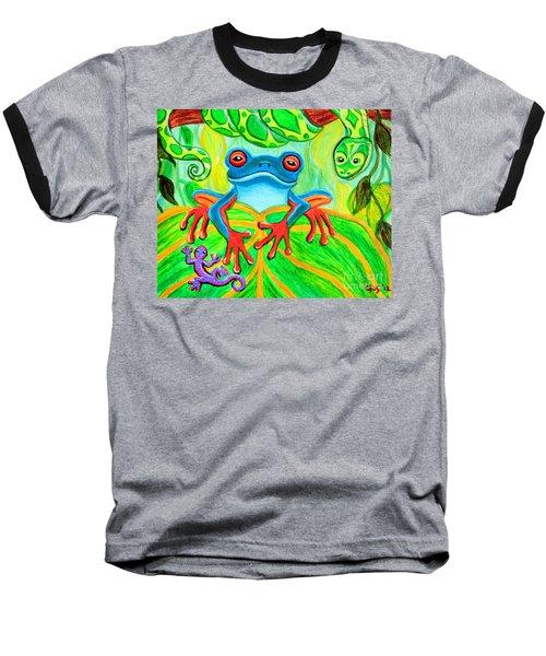 Frog Snake And Gecko In The Rainforest Baseball T-Shirt