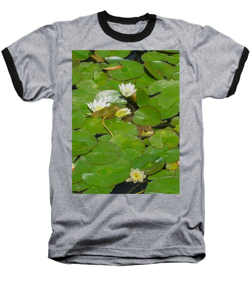 Frog With Water Lilies Baseball T-Shirt by Mark Barclay