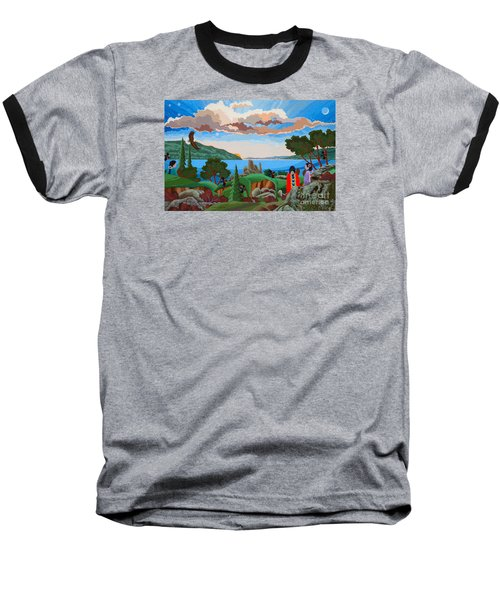 Baseball T-Shirt featuring the painting From A High Place, Troubles Remain Small by Chholing Taha
