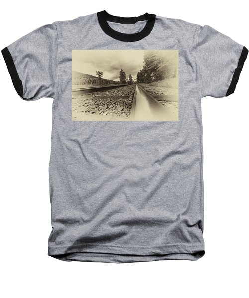Baseball T-Shirt featuring the photograph From The Track Antique by Darcy Michaelchuk