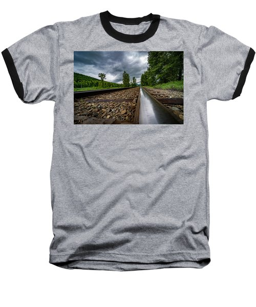 Baseball T-Shirt featuring the photograph From The Track by Darcy Michaelchuk