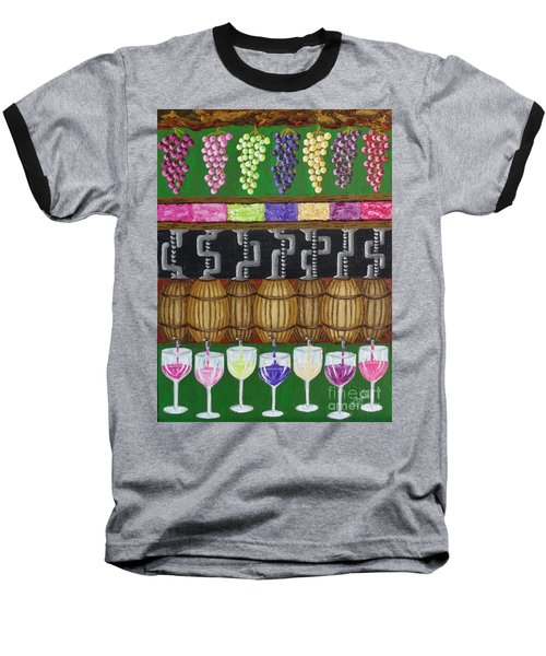 Baseball T-Shirt featuring the painting From Vine To Wine by Katherine Young-Beck