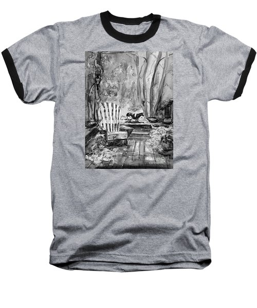 Baseball T-Shirt featuring the painting Front Deck Bw by Gretchen Allen
