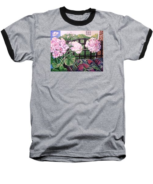 Baseball T-Shirt featuring the painting Front Porch Flowers by Laura Aceto