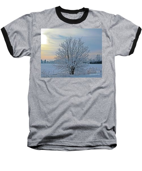 Frosted Sunrise Baseball T-Shirt by Heather King