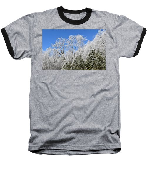 Frosted Trees Blue Sky 1 Baseball T-Shirt