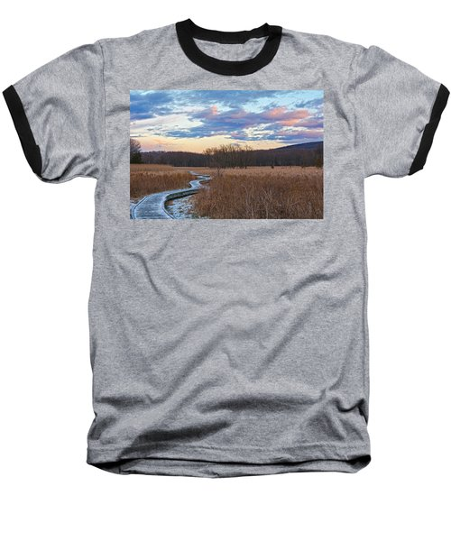 Frosty Blue Trail Baseball T-Shirt by Angelo Marcialis