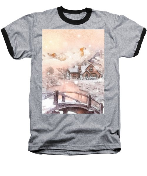 Baseball T-Shirt featuring the painting Frosty Creek by Mo T