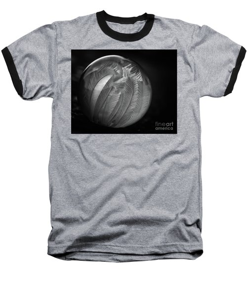 Frozen Soap Bubble - Black And White - Macro Baseball T-Shirt