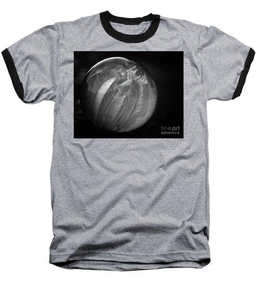 Frozen Soap Bubble - Black And White - Macro Baseball T-Shirt