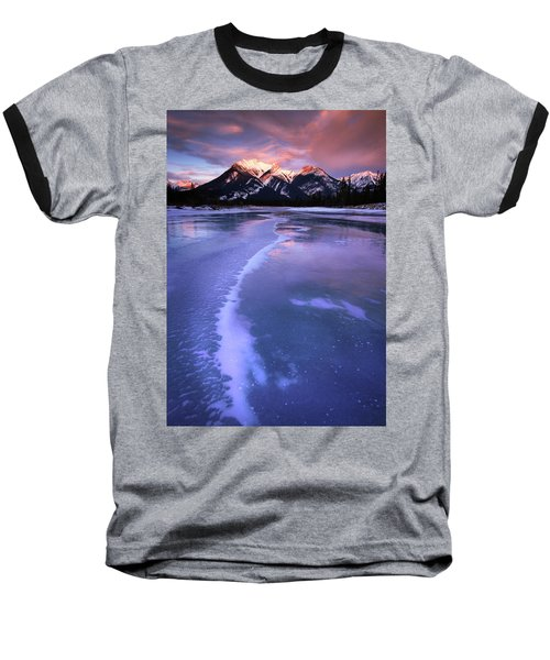 Frozen Sunrise Baseball T-Shirt by Dan Jurak